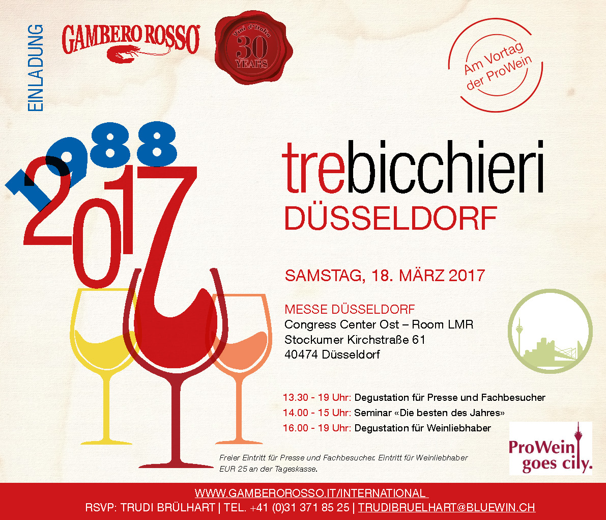 Drei-Gläser-Degustation «Vini d'Italia 2017»