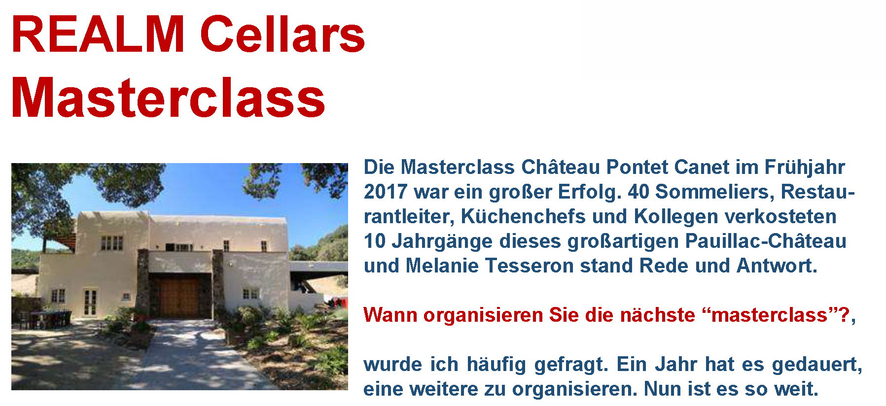REALM Cellars Masterclass