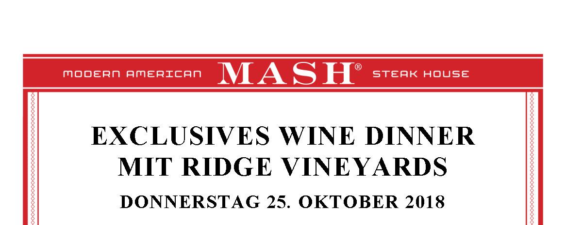 Wine Dinner mit Ridge Vineyards