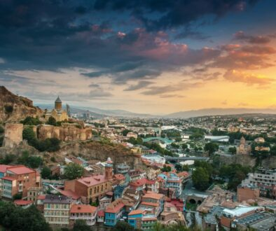 panoramic view of Tbilisi at sunrise, Georgia, Europe