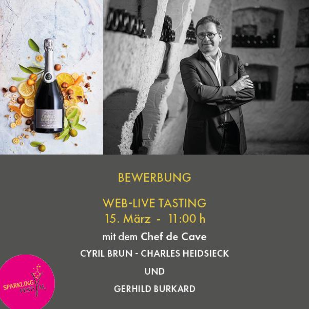 Bewerbung Champagner Fachverkostung mit Charles Heidsieck – Online